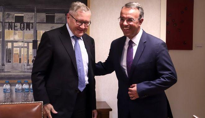 Συνάντηση του υπουργού Οικονομικών Χρήστου Σταικούρα με τον Εκτελεστικό Διευθυντή του Ευρωπαϊκού Μηχανισμού Σταθερότητας Κλάους Ρέγκλινγκ