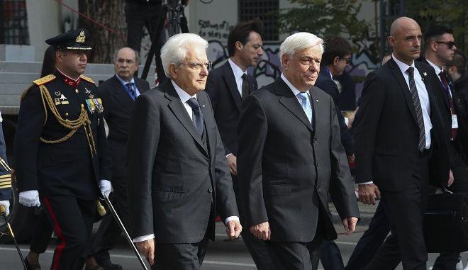 Ο ΠτΔ Προκόπης Παυλόπουλος και ο Ιταλός Πρόεδρος Σέρτζιο Ματαρέλα