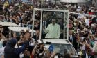 CORRECTS DATE AND LOCATION - Pope Francis arrives to celebrate Mass at Simon Bolivar park in Bogota, Colombia, Thursday, Sept. 7, 2017. (AP Photo/Andrew Medichini)