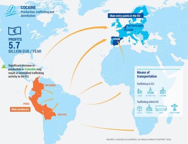 Χάρτες: Ο δρόμος της κοκαΐνης προς την ΕΕ και τα νέα ναρκωτικά