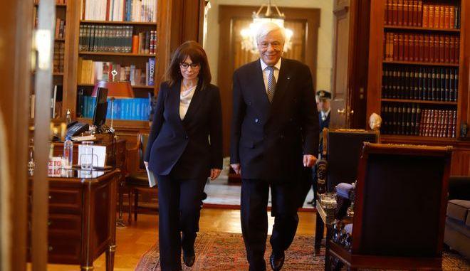 Τελετή παράδοσης-παραλαβής της νέας Προέδρο της Δημοκρατίας Αικατερίνης Σακελλαροπούλου από τον απερχόμενο Πρόεδρο Προκόπη Παυλόπουλου την Παρασκευή 13 Μαρτίου 2020.