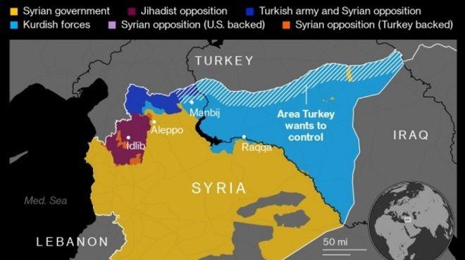 Χάρτης του Bloomberg για την περιοχή της Συρίας