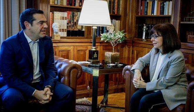 Συνάντηση της ΠτΔ Αικατερίνης Σακελλαροπούλου με τον πρόεδρο του ΣΥΡΙΖΑ Αλέξη Τσίπρα.
