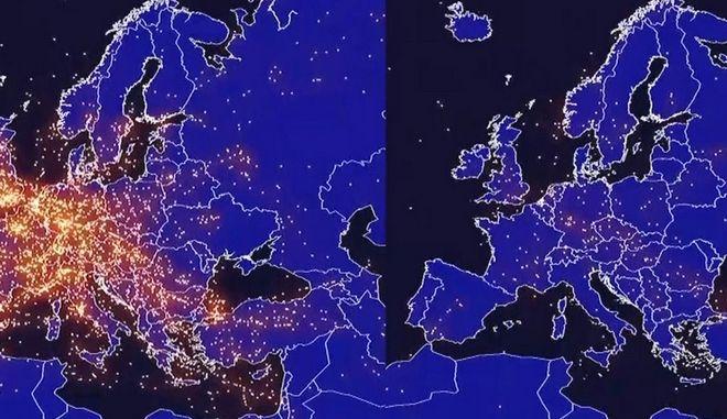Όταν ο κορονοϊός εξαφάνισε τις πτήσεις από τον χάρτη