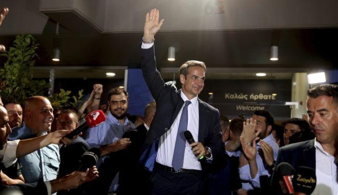 Νίκη του Κυριάκου Μητσοτάκη στις εθνικές εκλογές 2019 (AP Photo/Petros Giannakouris)