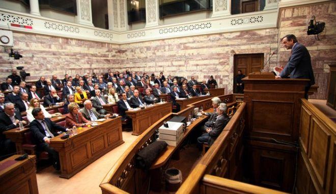 ΑΘΗΝΑ-ΒΟΥΛΗ-Συνεδρίαση της Κοινοβουλευτικής Ομάδας της ΝΔ στην αίθουσα της Γερουσίας/./ ΟΜΙΛΙΑ Α. ΣΑΜΑΡΑ.(EUROKINISSI-ΓΙΑΝΝΗΣ ΠΑΝΑΓΟΠΟΥΛΟΣ)