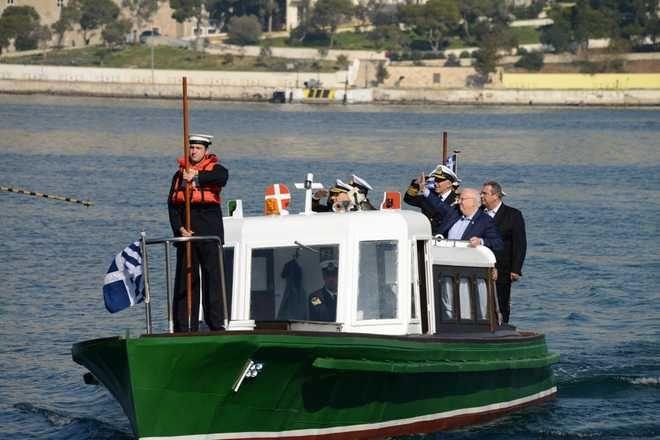 Κοινή επίσκεψη στο Αρχηγείο Στόλου στο Ναύσταθμο Σαλαμίνας του προέδρου του Ισραήλ, Ρούβεν Ρίβλιν και του υπουργού Εθνικής Άμυνας, Πάνου Καμμένου την Τετάρτη 31 Ιανουαρίου 2018. (EUROKINISSI/ΥΕΘΑ)