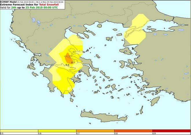 Δείκτης επικινδυνότητας για χιονοπτώσεις με βάση τα όρια του Ευρωπαϊκού Κέντρου Μεσοπρόθεσμων Προγνώσεων (ECMWF) για την Κυριακή ( αφορά όλο το 24ωρο)