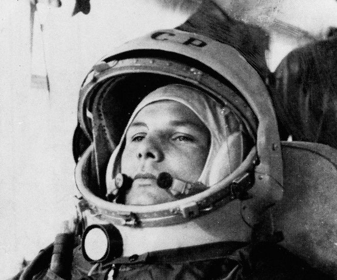 FILE - This undated photo shows cosmonaut Maj. Yuri Gagarin in his space suit. It was the Soviet Union's own giant leap for mankind _ one that would spur a humiliated America to race for the moon. It happened on Tuesday, April 12, 1961 when the air force pilot became the first human in space. (AP Photo)