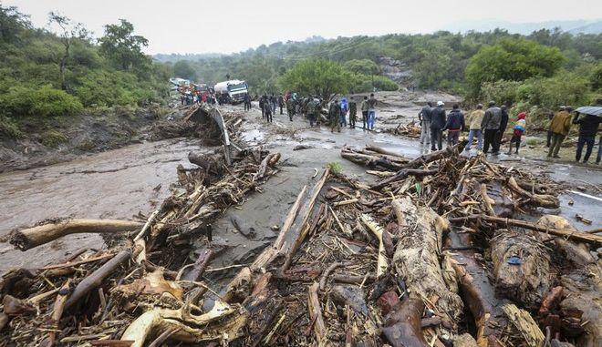 Εικόνα από την περιοχή Ουέστ Ποκότ στην Κένυα, που επλήγη από την κακοκαιρία