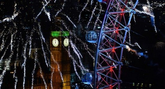 Fireworks streak around the Houses of Parliament and the London Eye during the New Year celebrations in central London just after midnight on January 1, 2014.   AFP PHOTO / LEON NEAL        (Photo credit should read LEON NEAL/AFP/Getty Images)