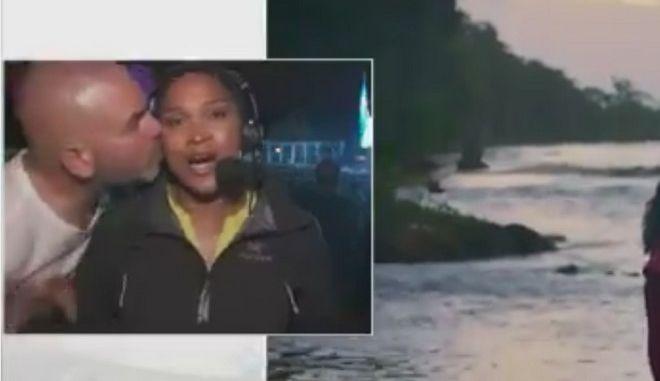 Βίντεο: Όρμηξε και φίλησε ρεπόρτερ στον αέρα
