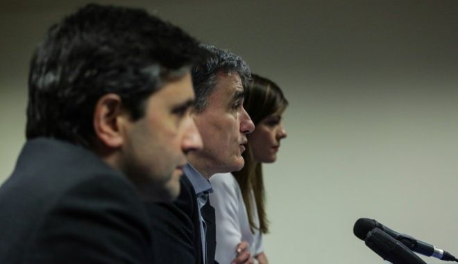 Greek Finance Minister, Euclid Tsakalotos, gives Press Conference after the Eurogroup finance ministers meeting at the European Council in Brussels, Belgium on Mar. 20, 2017. /   ,  ,              20 , 2017