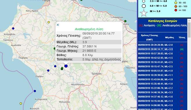Σεισμός 3,9 Ρίχτερ στην Τρίπολη