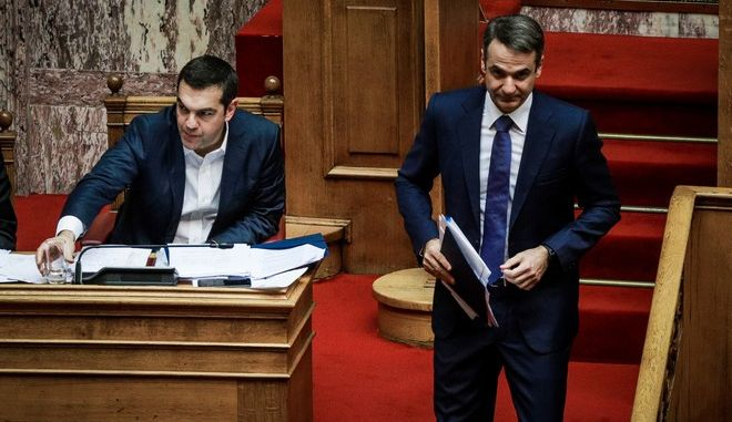 Ο Αλέξης Τσίπρας και ο Κυριάκος Μητσοτάκης σε συνεδρίαση της Βουλής