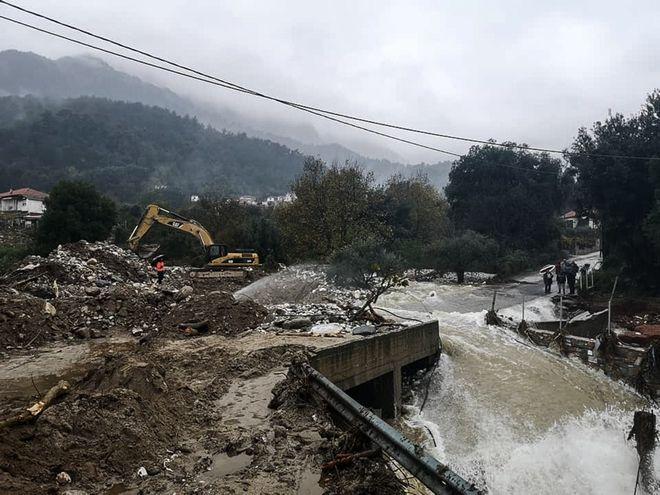 Καταστροφές από τις πλημμύρες στην Θάσο.
