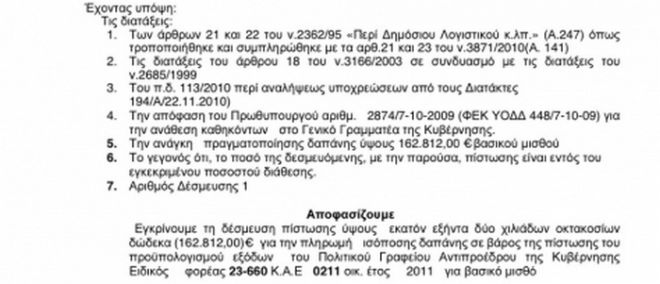Βασικός 162.812 ευρώ στο γραφείο Πάγκαλου