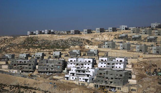 Κατασκευή από το Ισραήλ κατοικιών στη Δυτική Όχθη τον Ιανουάριο του 2019