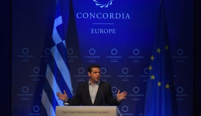 Ο πρωθυπουργός στο βήμα του Concordia Europe Summit - Φωτογραφία αρχείου