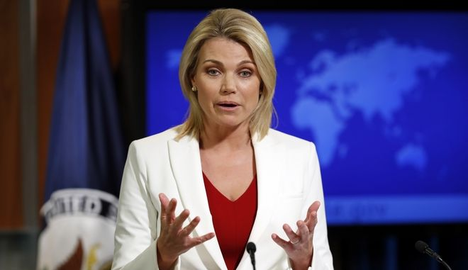 State Department spokeswoman Heather Nauert speaks during a briefing at the State Department in Washington (AP Photo/Alex Brandon)