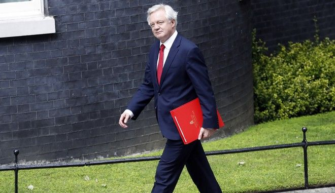 David Davis, Secretary of State for Exiting the European Union, arrives for a cabinet meeting at 10 Downing Street after the general election in London, Monday, June 12, 2017. Senior members in Theresa Mays government are moving to support her leadership despite doubts that she will remain in power following a disastrous election result. (AP Photo/Frank Augstein)