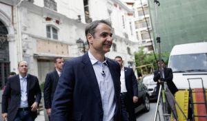 Ο πρόεδρος της ΝΔ Κυριάκος Μητσοτάκης κατά την επίσκεψη του στη Θεσσαλονίκη στις 4 Μαϊου