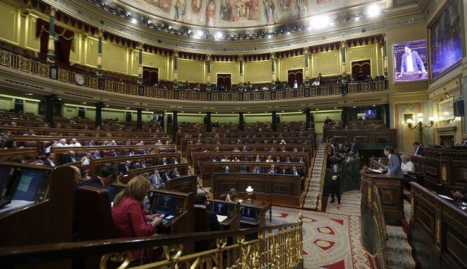 O Πάμπλο Ιγκλέσιας στο βήμα του ισπανικού Κοινοβουλίου