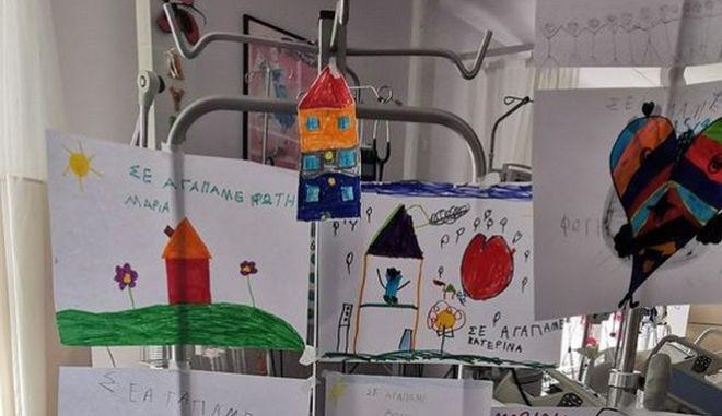 Ζωγραφιές για τον 6χρονο από τους συμμαθητές τους