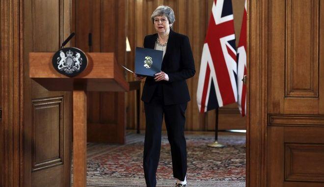 Η Βρετανίδα πρωθυπουργός Τερέζα Μέι σε συνέντευξη Τύπου στη Ντάουνινγκ Στριτ