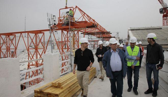 Ο Πρόεδρος της Βουλής επέβλεψε τα έργα ενίσχυσης της οροφής του Μεγάρου που πραγματοποιούνται για πρώτη φορά από το 1934.