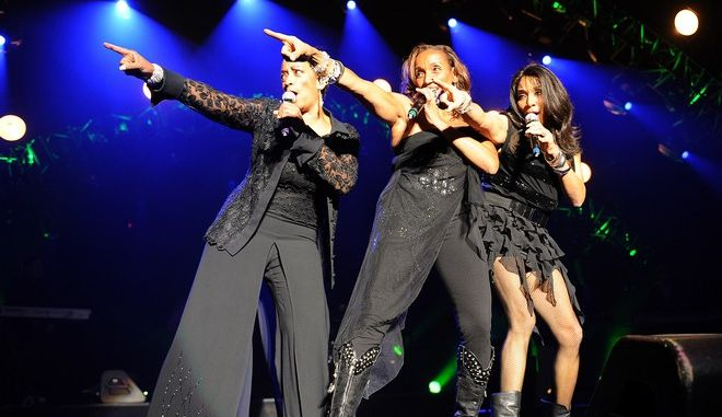 LAS VEGAS, NEVADA - OCTOBER 1: (L-R) Kim Sledge, Kathy Sledge and Joni Sledge of Sister Sledge perform on the Justin Timberlake and Friends Old School Jam, a Special Evening Benefiting Shriners Hospitals for Children at the Theatre For The Performing Arts at Planet Hollywood Resort & Casino on October 1, 2011 in Las Vegas, Nevada. (Frank Micelotta/PictureGroup) via AP IMAGES