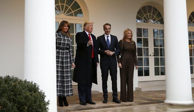 Συνάντηση των Ντόναλντ και Μελάνια Τραμπ με τους Κυριάκο Μητσοτάκη και Μαρέβα Γκραμπόφσκι στον Λευκό Οίκο