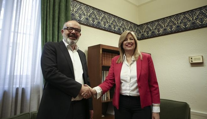 he president PASOK, Fofi Gennimata met with former Mp of  To Potami ( The River) party,Konstantinos Mpargiotas, in Athens, on March 29, 2017 /        ,      ,
