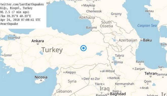 Το επίκεντρο του σεισμού που σημειώθηκε την Τρίτη 24 Απριλίου στην Τουρκία