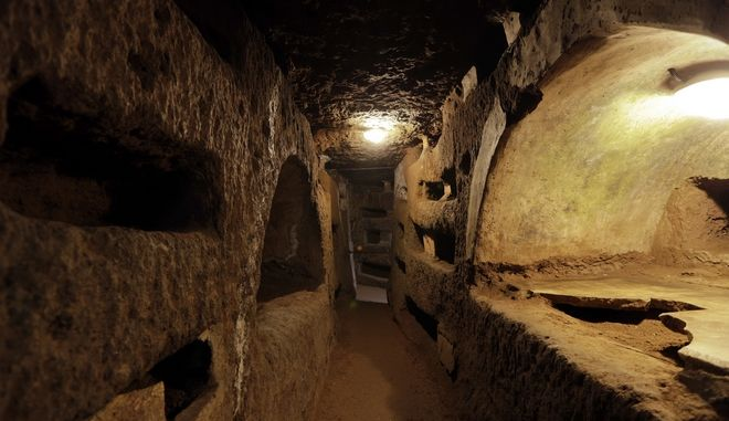 A view of the Santa Domitilla catacombs during a visit for the press, in Rome, Tuesday, May 30, 2017. Media representatives have been invited to see ongoing restoration works for the inauguration of a new museum. (AP Photo/Andrew Medichini)