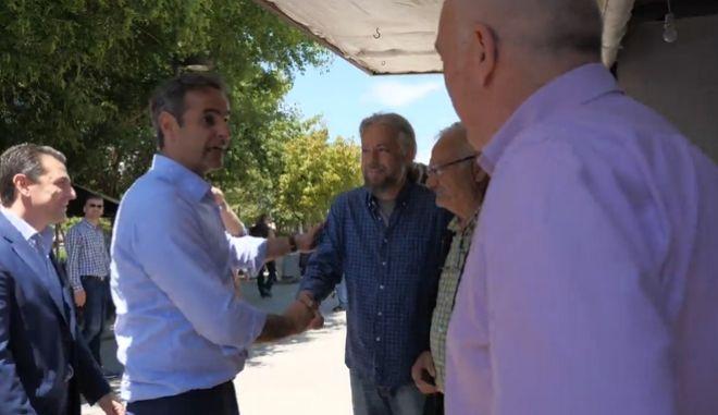 Κ. Μητσοτάκης σε εκλογικό περίπτερο του ΣΥΡΙΖΑ