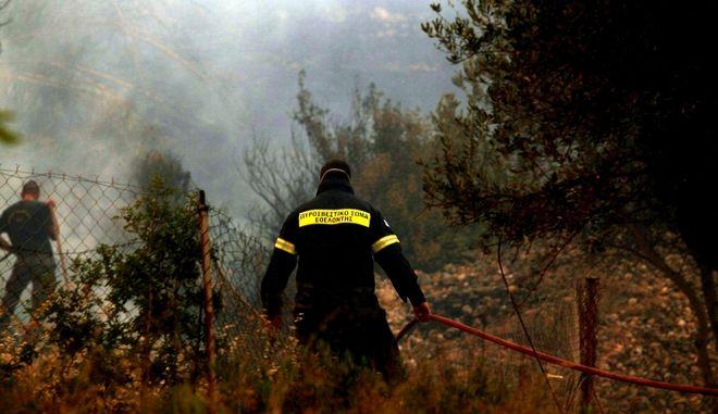 Συνεχίζονται γα δεύτερη ημέρα οι προσπάθειες κατάσβεσης της μεγάλης πυρκαγιάς στην Σάμο,που ξέσπασε εχθές σε δασική έκταση κοντά σε παλιά χωματερή από εργασίες ηλεκτροσυγκόλησης,Σάββατο 9 Ιουλίου 2016 (EUROKINISSI/ΣΥΝΕΡΓΑΤΗΣ)