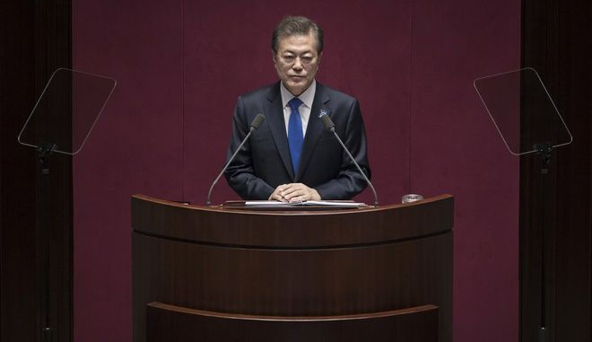 South Korea's President Moon Jae-in delivers a budget speech to the National Assembly in Seoul Wednesday, Nov. 1, 2017. (Ed Jones/Pool Photo via AP)