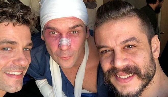 """Αποστόλης Τότσικας, Νίκος Πουρσανίδης, Λεωνίδας Καλφαγιάννης στα γυρίσματα του """"Για πάντα παιδιά"""""""