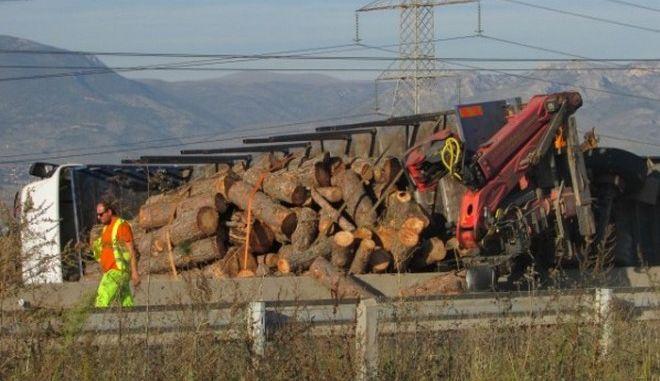 Νταλίκα που μετέφερε κορμούς δέντρων ανετράπη στην Εγνατία