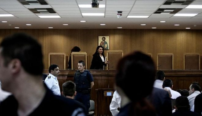 Defendants for trial of the Golden Dawn during the transfer to the special courtroom of the Korydallos prison, in Athens, Greece on June 4, 2015. /                    ,   4  2015.