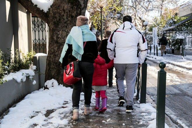 Χιόνια στην Αθήνα, στιγμιότυπο από την Κηφισιά