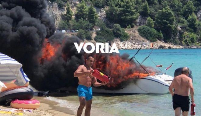 Έκρηξη σε σκάφος στη Χαλκιδική