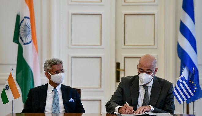 Συνάντηση του ΥΠΕΞ Νίκου Δένδια με τον Ινδό ομόλογο του Subrahmanyam Jaishankar