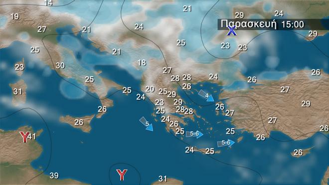 Πρόβλεψη καιρού στην Ελληνική επικράτεια για την Παρασκευή