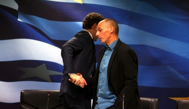 Ο υπουργός Οικονομικών Γιάννης Βαρουφάκης και ο πρόεδρος του Eurogroup Γερούν Ντάισελμπλουμ στην συνέντευξη τύπου μετα το τέλος της συνάντησης τους στο υποουργείο Οικονομικών την Παρασκευή 30 Ιανουαρίου 2015. (EUROKINISSI.ΤΑΤΙΑΝΑ ΜΠΟΛΑΡΗ)