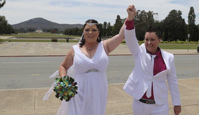 Same sex couple Stacey Cowan, right, and Corrina Peck celebrate after taking their wedding vows at Old Parliament House in Canberra, Australia, Saturday, Dec. 7, 2013. Dozens of same-sex couples from all around the country are taking advantage of the Australia Capital Territory's new law allowing same-sex marriages. But the unions may be short lived if the High Court on Dec. 12, 2013 rules in favorr of a Commonwealth challenge to overrule the states law. (AP Photo/Rob Griffith)