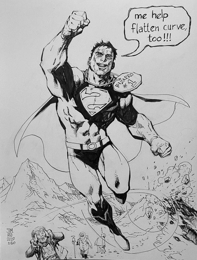 Σκίτσο του Jim Lee που δημοπραττήθηκε για  4.769 δολάρια - Το ποσό δόθηκε για τη στήριξη ιδιοκτητών καταστημάτων κόμικ της Αμερικής