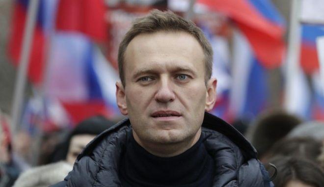 Ο Αλεξέι Ναβάλνι σε πορεία διαμαρτυρίας