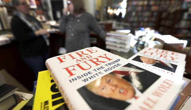 "Copies of the book ""Fire and Fury: Inside the Trump White House"" by Michael Wolff are displayed at Barbara's Books Store Friday, Jan. 5, 2018, in Chicago. (AP Photo/Charles Rex Arbogast)"